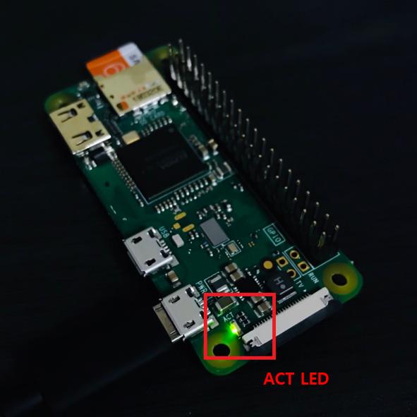 Raspberry Pi Zero ACT LED On